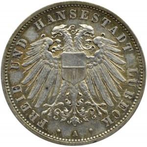 Niemcy, Lubeka, 3 marki 1913 A, Berlin, UNC, rzadkie