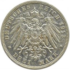 Niemcy, Prusy, Wilhelm II, 3 marki 1913 A, Berlin