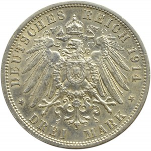 Niemcy, Prusy, Wilhelm II, 3 marki 1914 A, Berlin