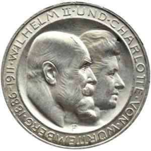 Niemcy, Wirtembergia, Wilhelm i Charlotte, 3 marki 1911 F, Stuttgart, UNC