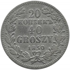 Mikołaj I, 20 kopiejek/40 groszy 1850 MW, Warszawa