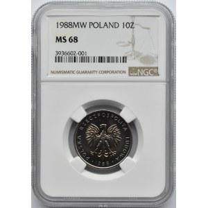Polska, PRL, 10 złotych 1988, Warszawa NGC MS68 MAX!!!