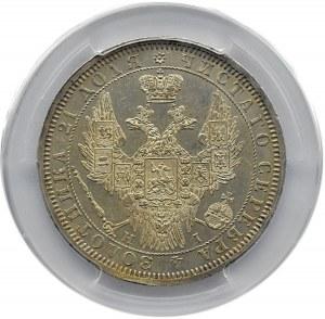 Rosja, Mikołaj I, 1 rubel 1855 HI, Petersburg, PCGS AU58