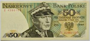 Polska, PRL, 50 złotych 1975, seria Z, Warszawa, UNC