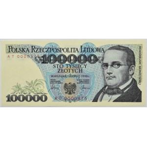 Polska, III RP, 100000 złotych 1990, seria AT, Warszawa, UNC, niski numer 0000375