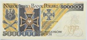 Polska, III RP, 5 milionów złotych 1995, seria AD, Replika, UNC
