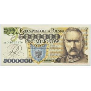 Polska, III RP, 5 milionów złotych 1995, seria AD000300, Replika, UNC