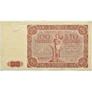 Polska, RP, 100 złotych 1947, Warszawa, seria F