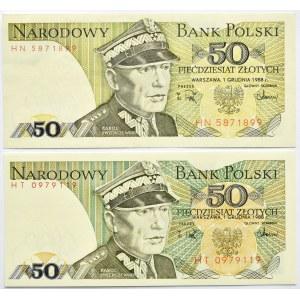 Polska, PRL, 50 złotych 1988, seria HN, destrukt - inny odcień zieleni