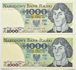 Polska, PRL, lot 1000 złotych 1982, seria EA/HC, destrukty