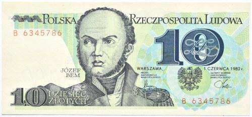 Polska, PRL, J. Bem, 10 złotych 1982, seria B, destrukt