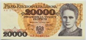 Polska, PRL, 20000 złotych 1989, ostatnia seria AR, Warszawa, UNC