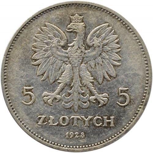 Polska, II RP, 5 złotych 1928 Nike, Bruksela, odmiana bez znaku mennicy