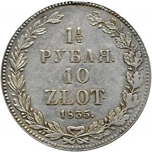 Mikołaj I, 1 1/2 rubla/10 złotych 1835 HG, szeroka korona, Petersburg