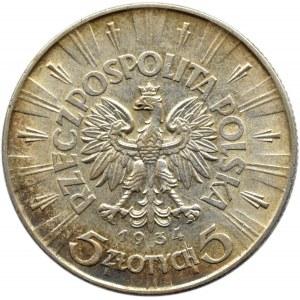 Polska, II RP, Józef Piłsudski, 5 złotych 1934, Warszawa, piękne