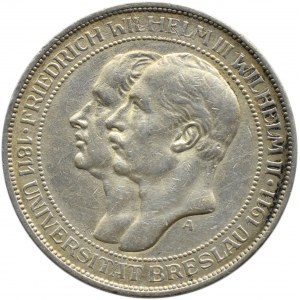 Niemcy, Prusy, Wilhelm II, 3 marki 1911 A, Berlin, 100-lecie Uniwersytetu we Wrocławiu