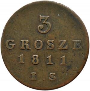 Księstwo Warszawskie, 3 grosze 1811 I.S., Warszawa