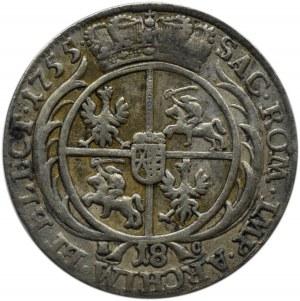 August III Sas, ort (18 groszy) 1755 E.C., Lipsk