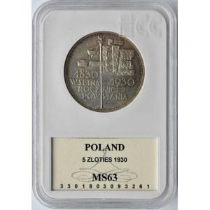 Polska, II RP, 5 złotych 1930, Sztandar, Warszawa, GCN MS63