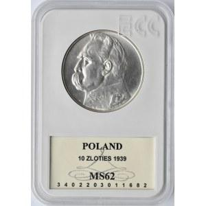 Polska, II RP, Józef Piłsudski, 10 złotych 1939, Warszawa, GCN MS62