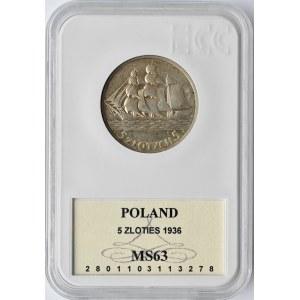 Polska, II RP, Żaglówka, 5 złotych 1936, Warszawa, GCN MS63