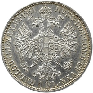 Austro-Węgry, Franciszek Józef I, 1 floren 1861 A, Wiedeń