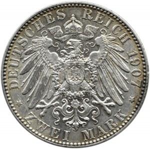 Niemcy, Saksonia, Fryderyk, 2 marki 1907 E, Muldenhütten