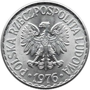 Polska, PRL, 1 złoty 1976 bez znaku, UNC