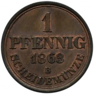 Niemcy, Hannover, 1 pfennig 1863 B, Hannover, UNC