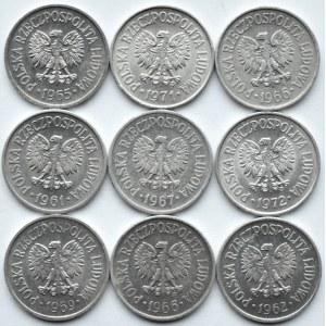 Polska, PRL, lot dziewięciu sztuk 10 groszy 1961-1971, Warszawa
