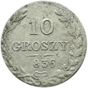 Mikołaj I, 10 groszy 1836 MW, Warszawa, ciekawy destrukt