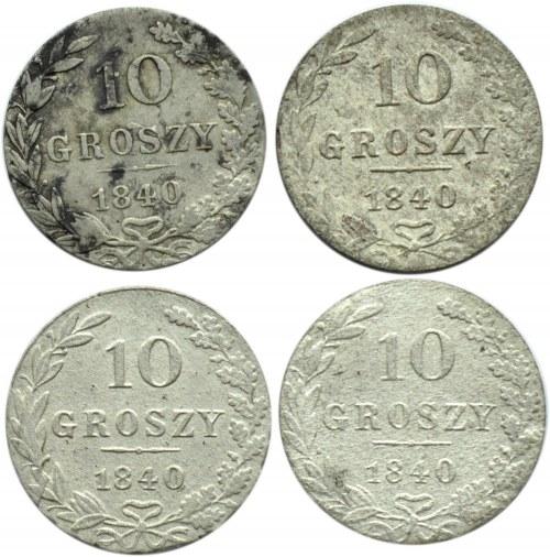 Mikołaj I, lot czterech sztuk 10 groszy 1840 MW, Warszawa