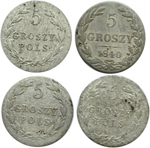 Mikołaj I, lot czterech sztuk 5 groszy 1818-18??, Warszawa