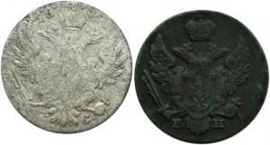 Mikołaj I, lot monet 1 i 10 groszy 1830 KG, Warszawa