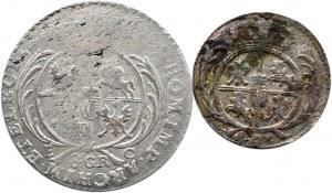 August III Sas, lot monet 1/24 talara i dwuzłotówka (8 groszy) 1753 E.C., Lipsk