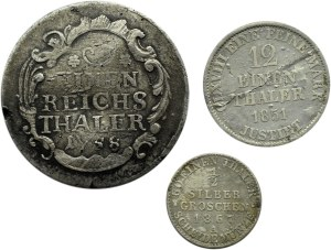 Niemcy, Prusy/Hannover, lot trzech srebrnych monet 1758-1867