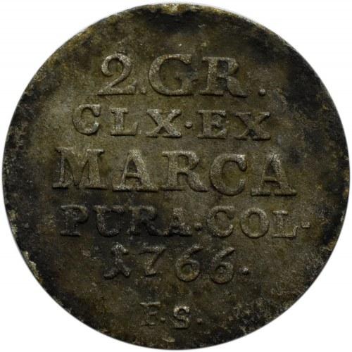 Stanisław A. Poniatowski, 2 grosze srebrne (półzłotek) 1766 F.S., Warszawa