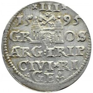 Zygmunt III Waza, trojak 1595, Ryga, NIENOTOWANY
