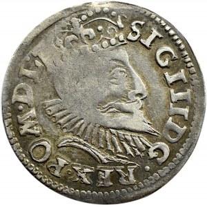 Zygmunt III Waza, trojak 1597, Poznań, odmiana z kwiatem