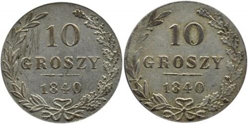 Mikołaj I, lot 10 groszy 1840 MW, Warszawa, dwie odmiany