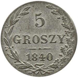 Mikołaj I, 5 groszy 1840 MW, Warszawa, ładne!