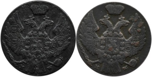 Mikołaj I, lot 1 grosz 1839 MW, Warszawa, dwie odmiany