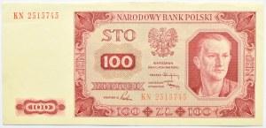 Polska, RP, 100 złotych 1948, seria KN, piękne