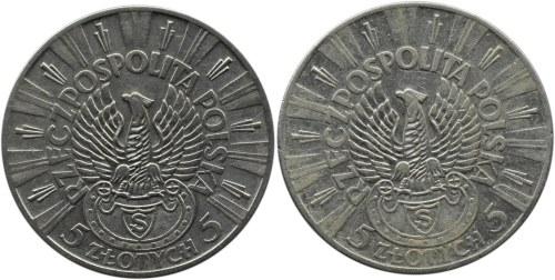Polska, II RP, Józef Piłsudski, 5 złotych 1934 orzeł strzelecki, Warszawa, lot 2 sztuk