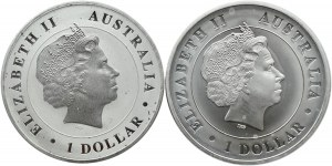 Australia, 2 X 1 dollar 2014-15, krokodyl i pająk, UNC