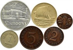 Estonia, lot drobnych monet i 2 korony 1930, Tallin