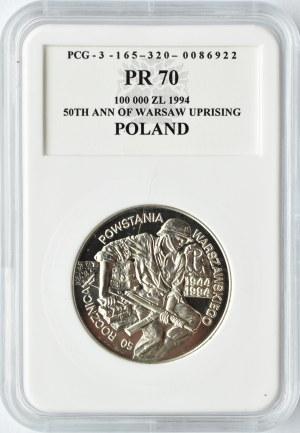 Polska, III RP, 100000 złotych 1994, 50 rocznica Powstania Warszawskiego, PCG PR70