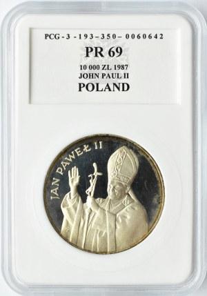 Polska, PRL, 10 000 złotych 1987, Jan Paweł II, PCG PR69