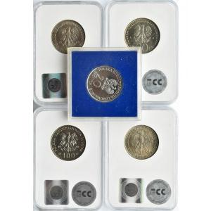 Polska, PRL, lot 5 monet 1967-1988, grading GCN