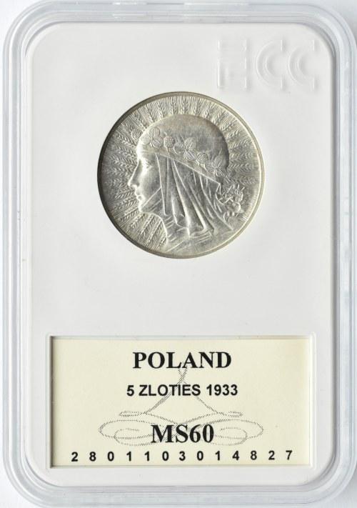 Polska, II RP, Głowa Kobiety, 5 złotych 1933, Warszawa, GCN MS60